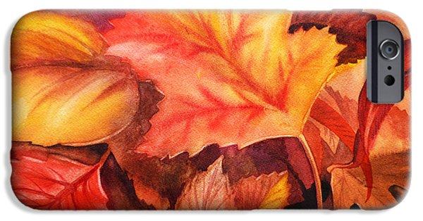 Cold Paintings iPhone Cases - Autumn Leaves iPhone Case by Irina Sztukowski