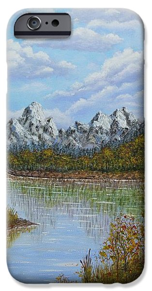 Autumn Mountains Lake Landscape iPhone Case by Georgeta  Blanaru
