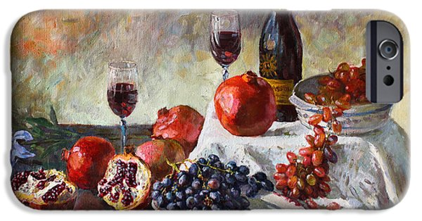 Glass Of Wine Paintings iPhone Cases - Autumn n a Flower iPhone Case by Ylli Haruni