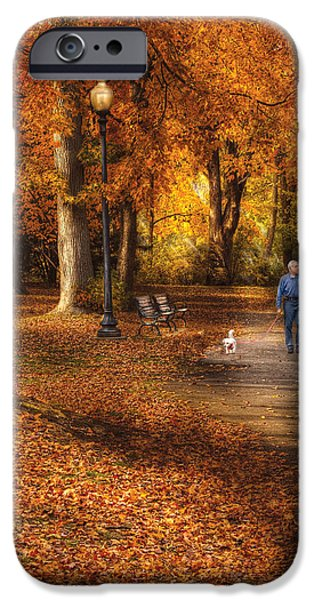 Dog Walking iPhone Cases - Autumn - People - A walk in the park iPhone Case by Mike Savad