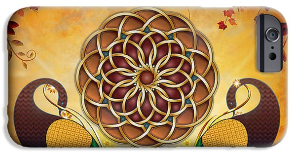 Bedros Mixed Media iPhone Cases - Autumn Serenade - Mandala Of The Two Peacocks iPhone Case by Bedros Awak