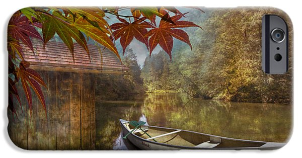 Canoe iPhone Cases - Autumn Souvenirs iPhone Case by Debra and Dave Vanderlaan