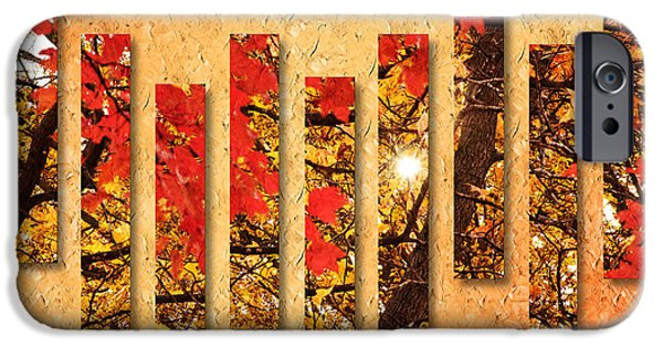 Park Scene Mixed Media iPhone Cases - Autumn Sunrise Painterly Abstract iPhone Case by Andee Design