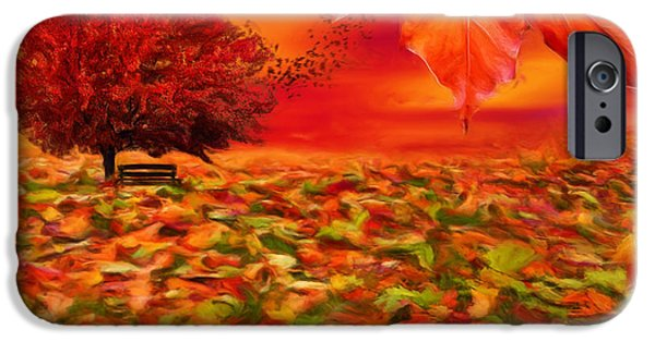 Trees At Sunset iPhone Cases - Autumnal Scene iPhone Case by Lourry Legarde
