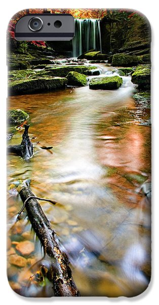 Autumn Scenes Photographs iPhone Cases - Autumnal Waterfall iPhone Case by Meirion Matthias