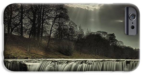 Water Image iPhone Cases - Aysgarth Falls Yorkshire England iPhone Case by John Short