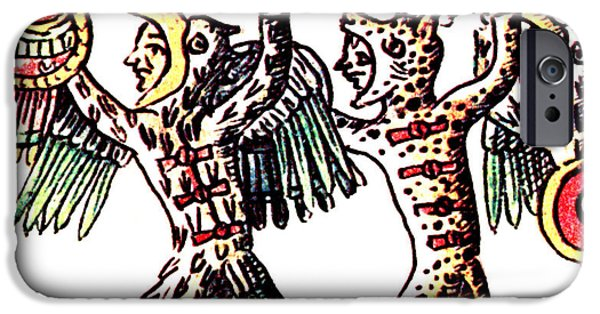 Drawing Of Eagle iPhone Cases - Aztec Warriors, Codex Florentine, 16th iPhone Case by Photo Researchers