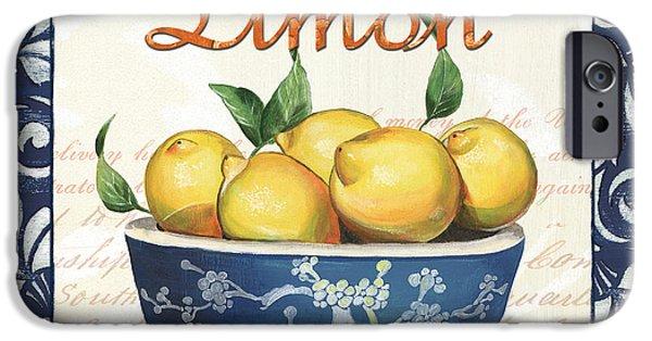 Organic Paintings iPhone Cases - Azure Lemon 3 iPhone Case by Debbie DeWitt