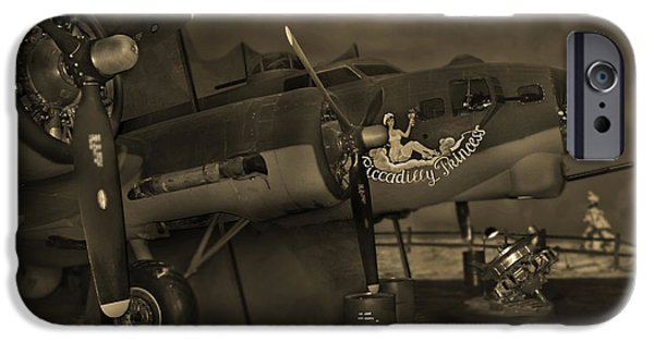 Warbird iPhone Cases - B - 17 Field Maintenance  iPhone Case by Mike McGlothlen