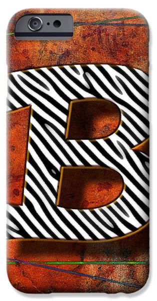 Abstract Digital Pyrography iPhone Cases - B iPhone Case by Mauro Celotti