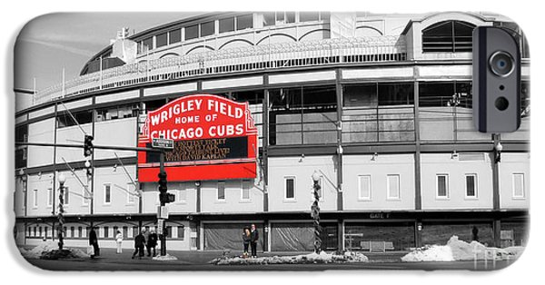 Wrigley Field Photographs iPhone Cases - B-W Wrigley 100 Years Young iPhone Case by David Bearden