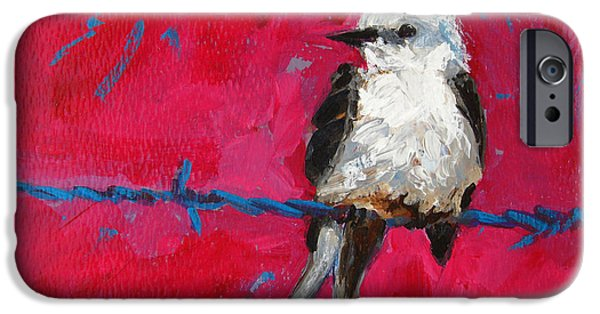 Baby Bird Paintings iPhone Cases - Baby Bird on a wire iPhone Case by Patricia Awapara