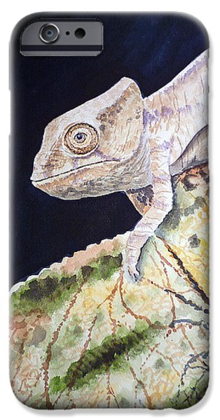 Chameleon iPhone Cases - Baby Chameleon iPhone Case by Irina Sztukowski