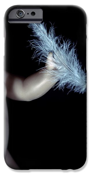 Creepy iPhone Cases - Baby Doll With Feather iPhone Case by Joana Kruse