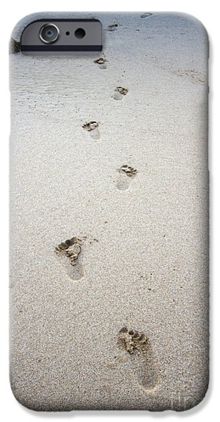 Baby Photographs iPhone Cases - Baby Footprints In The Sand iPhone Case by Dustin K Ryan