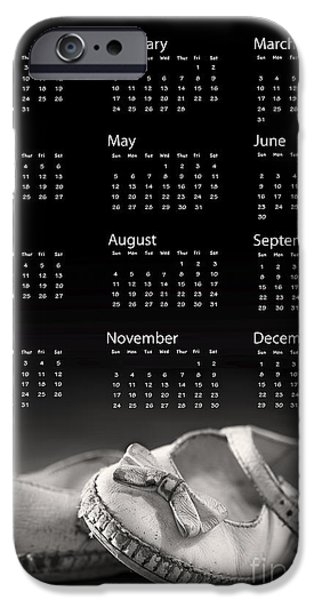 July iPhone Cases - Baby shoes calendar 2013 iPhone Case by Jane Rix