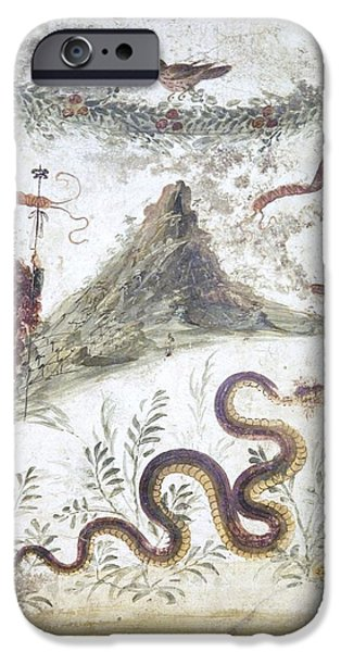 Serpent iPhone Cases - Bacchus And Vesuvius, Roman Fresco iPhone Case by Sheila Terry