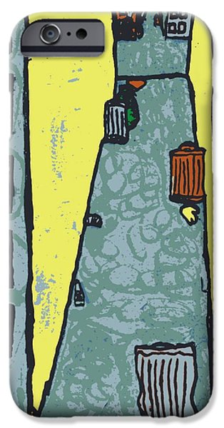 Buildings Mixed Media iPhone Cases - Back Alley Murder Three iPhone Case by Sheri Parris