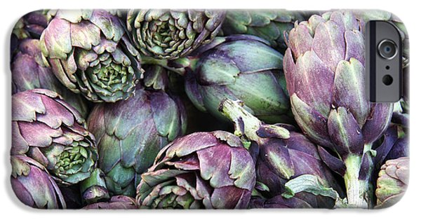 Crops iPhone Cases - Background of artichokes iPhone Case by Jane Rix
