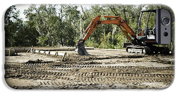 Backhoe iPhone Cases - Backhoe on Construction Site iPhone Case by Sam Bloomberg-rissman