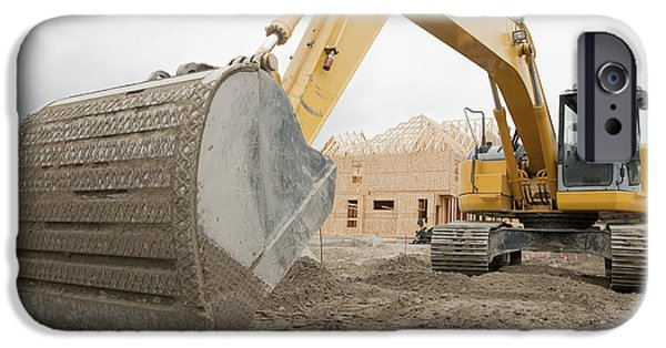 Building Site iPhone Cases - Backhoe on Construction Site iPhone Case by Shannon Fagan