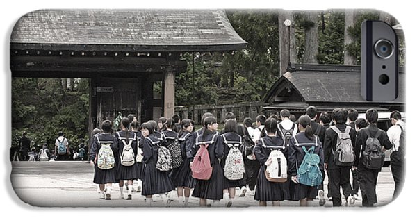 Japanese School iPhone Cases - Backpacks iPhone Case by David Rucker
