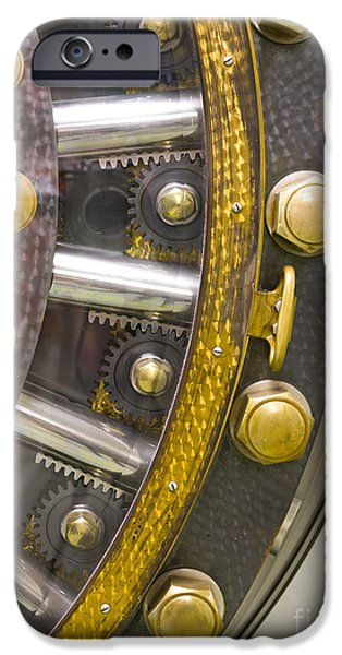 Business Photographs iPhone Cases - Backside of a Bank Vault Door iPhone Case by Adam Crowley
