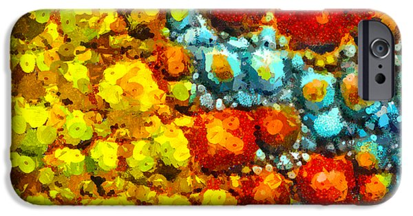 Cellular Mixed Media iPhone Cases - Bacteria 2 iPhone Case by Angelina Vick