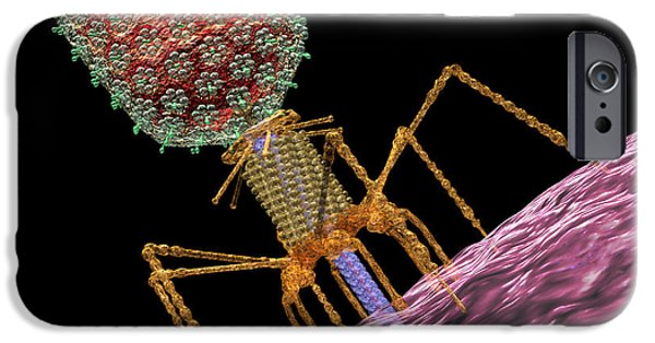 Microbiology Digital iPhone Cases - Bacteriophage T4 Injecting iPhone Case by Russell Kightley