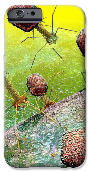 Bacteriophage T4 virus group 2 iPhone Case by Russell Kightley
