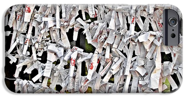 Stand iPhone Cases - Bad-luck omikuji in Asakusa Tokyo Japan iPhone Case by Christine Till