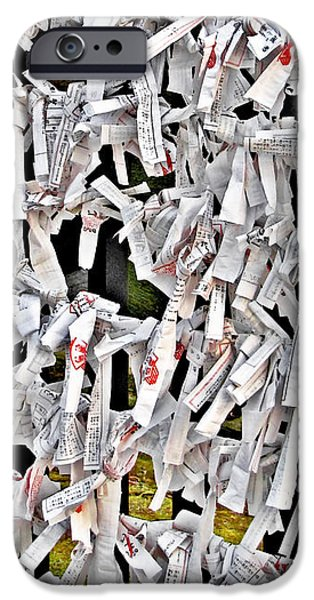Bad-luck omikuji in Asakusa Tokyo Japan iPhone Case by Christine Till