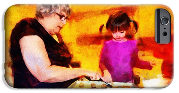 Bonding Mixed Media iPhone Cases - Baking Cookies with Grandma iPhone Case by Nikki Marie Smith
