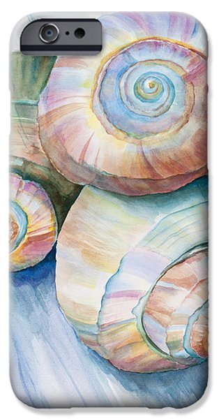 Consciousness iPhone Cases - Balance in Spirals Watercolor Painting iPhone Case by Michelle Wiarda
