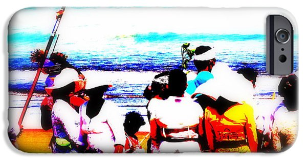 Abstract Digital Photographs iPhone Cases - Balinese Beach Funeral  iPhone Case by Funkpix Photo Hunter