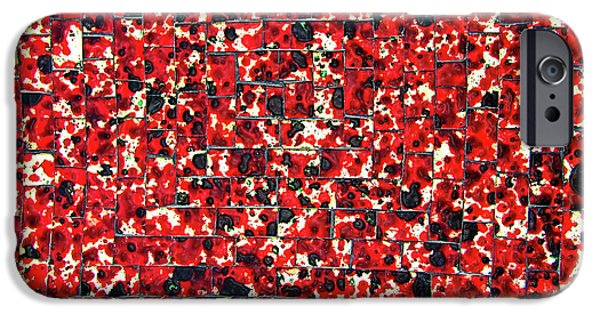 Tiled Glass iPhone Cases - Balinese Glass Tile Art - Red iPhone Case by Mark Sellers