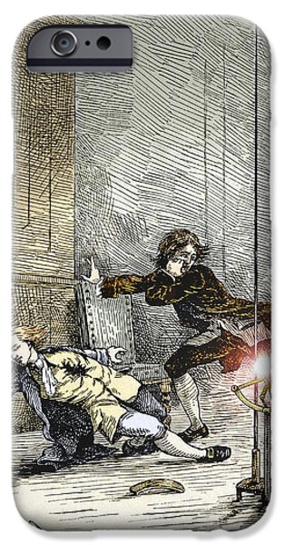 Electrical iPhone Cases - Ball Lightning Kills Richmann, 1753 iPhone Case by Sheila Terry