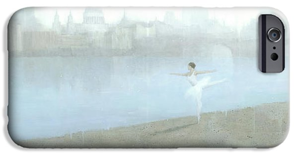 Ballerina iPhone Cases - Ballerina on the Thames iPhone Case by Steve Mitchell