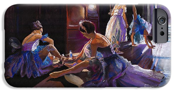 Pastel iPhone Cases - Ballet Behind the Scenes iPhone Case by Yuriy  Shevchuk