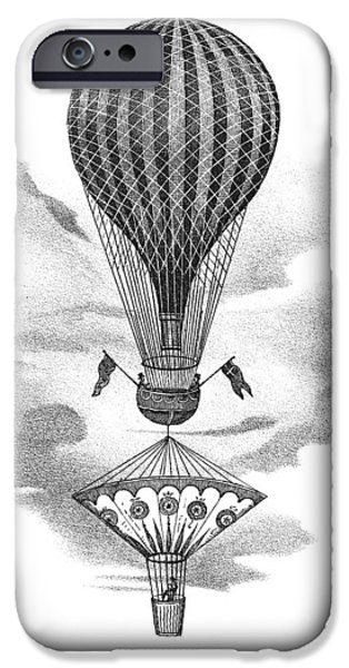 Nineteenth iPhone Cases - Balloon And Parachute iPhone Case by Science, Industry & Business Librarynew York Public Library
