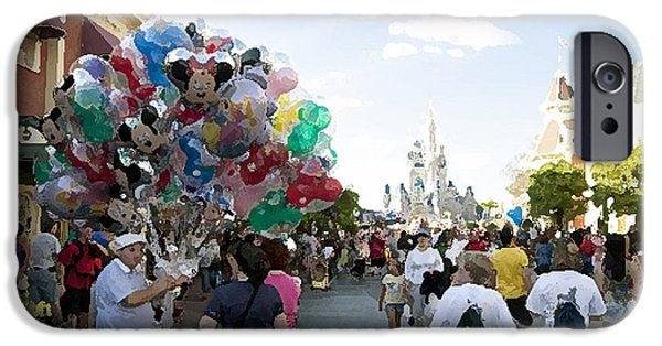 Balloon Vendor iPhone Cases - Balloon Vendor at Magic Kingdom iPhone Case by Christopher Purcell