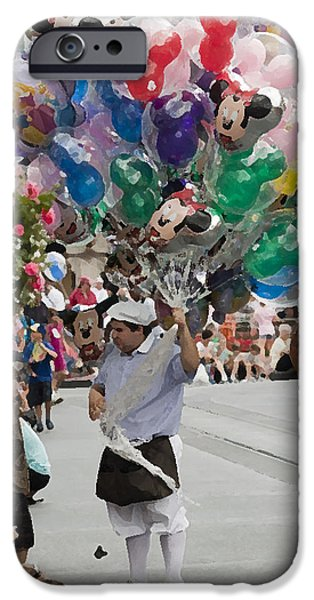 Balloon Vendor iPhone Cases - Balloon Vendor at Magic Kingdom No. 2 iPhone Case by Christopher Purcell