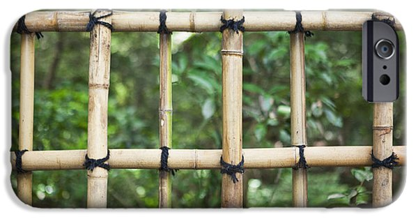 Bamboo Fence iPhone Cases - Bamboo Fence Detail Meiji Jingu Shrine iPhone Case by Bryan Mullennix