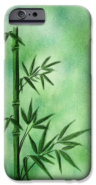 Abstract Digital Art Mixed Media iPhone Cases - Bamboo iPhone Case by Svetlana Sewell