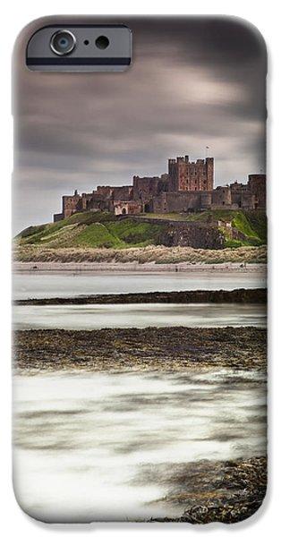 Sand Castles iPhone Cases - Bamburgh Castle Bamburgh Northumberland iPhone Case by John Short