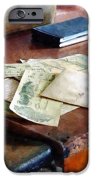 Bank Checks Dated 1923 iPhone Case by Susan Savad