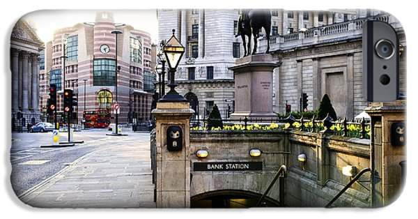 Lamppost iPhone Cases - Bank station entrance in London iPhone Case by Elena Elisseeva