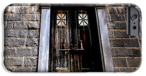 Buildings iPhone Cases - Bar across the door iPhone Case by Bob Orsillo