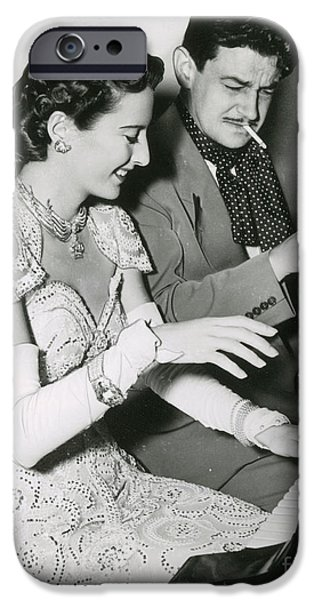 Figure iPhone Cases - Barbara Stanwyck & Preston Sturges iPhone Case by Photo Researchers