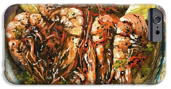French Quarter Paintings iPhone Cases - Barbequed Shrimp iPhone Case by Dianne Parks
